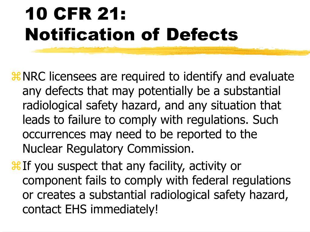 10 CFR 21:
