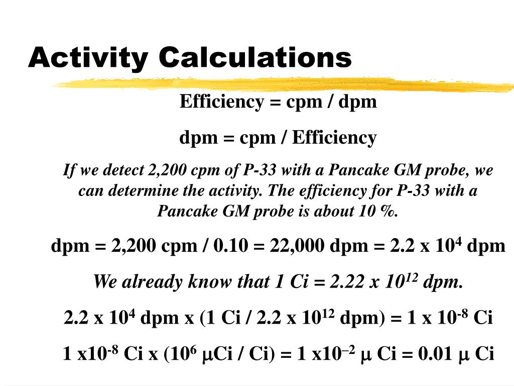 Activity Calculations
