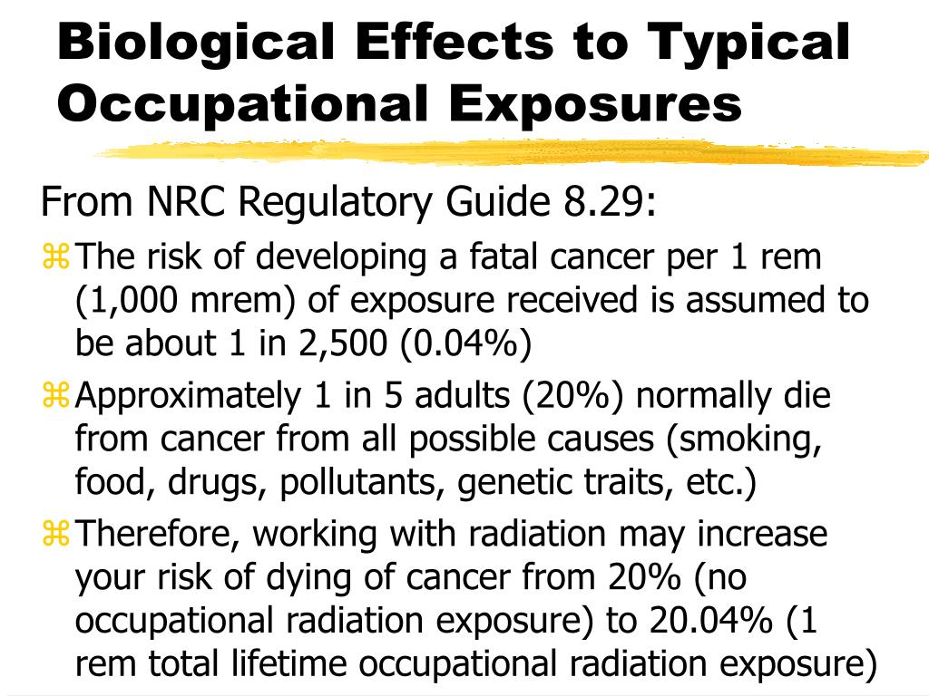 Biological Effects to Typical Occupational Exposures