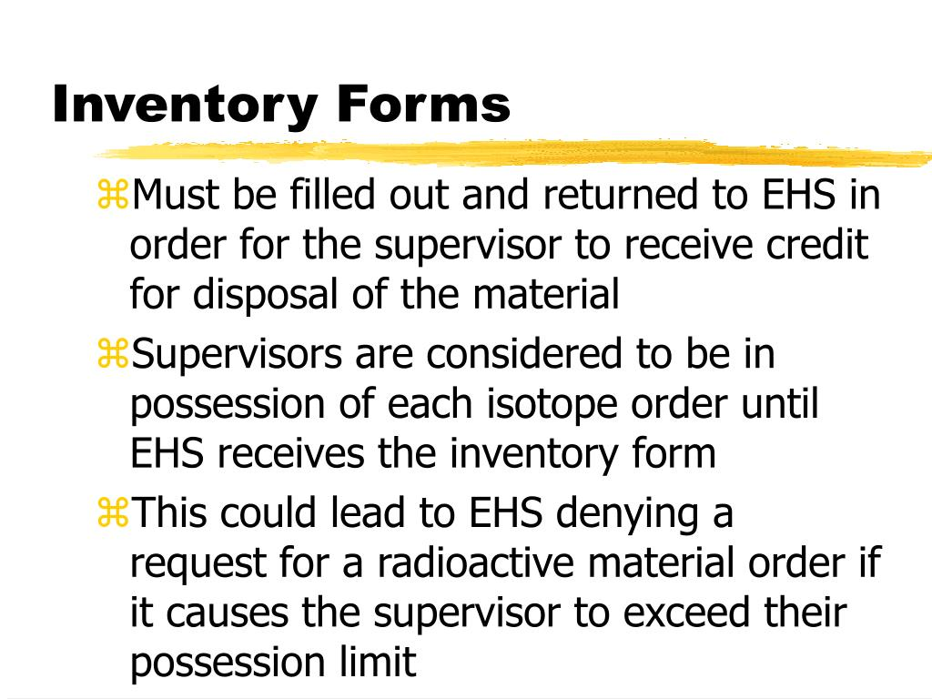 Inventory Forms