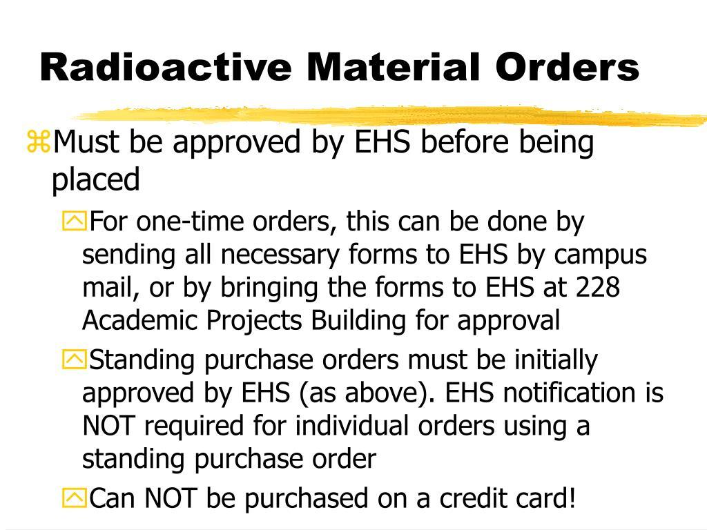 Radioactive Material Orders