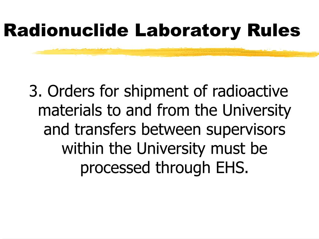 Radionuclide Laboratory Rules