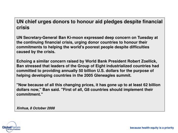 UN chief urges donors to honour aid pledges despite financial crisis
