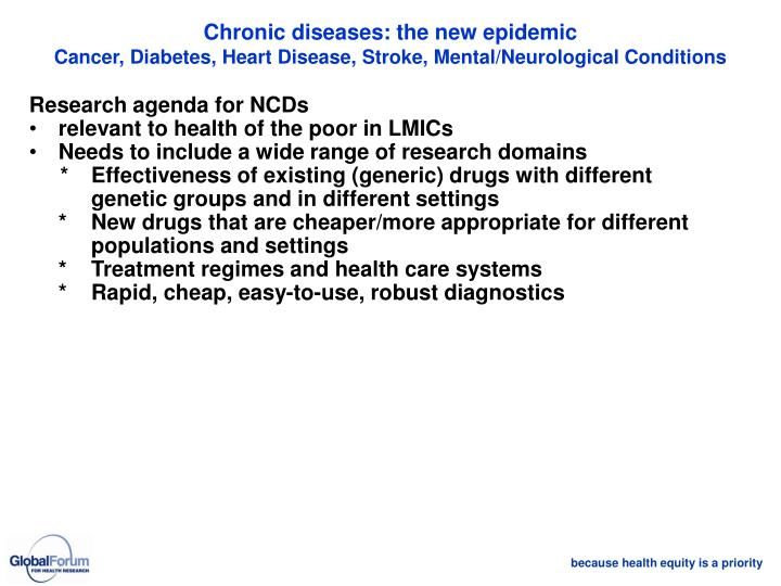 Chronic diseases: the new epidemic