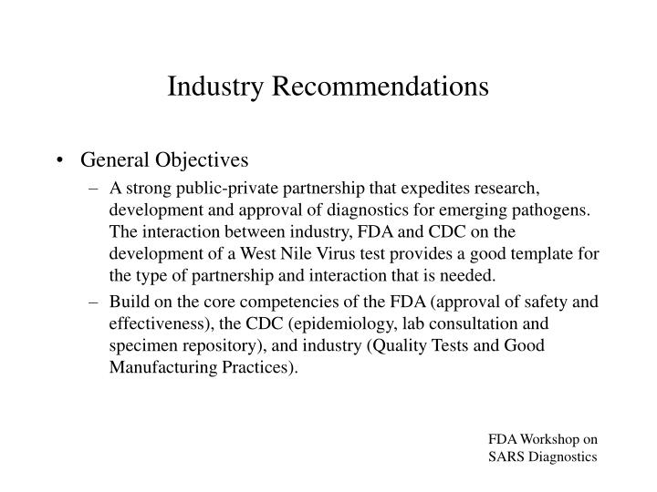 Industry Recommendations