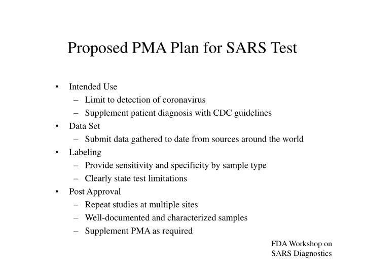 Proposed PMA Plan for SARS Test