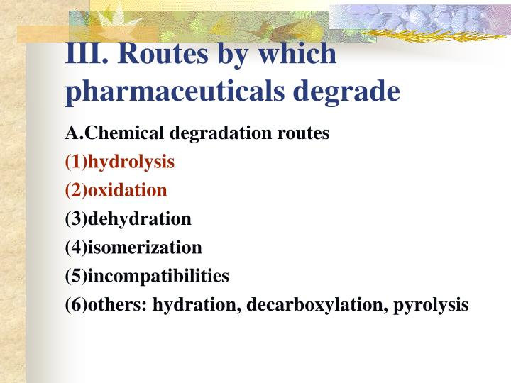 III. Routes by which pharmaceuticals degrade