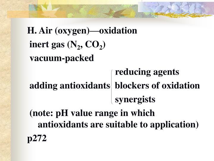 H. Air (oxygen)—oxidation