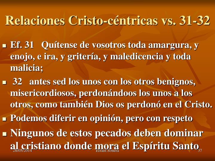 Relaciones Cristo-céntricas vs. 31-32