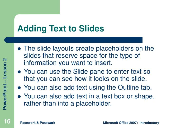 Adding Text to Slides