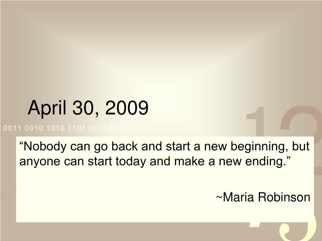 April 30, 2009
