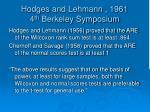 hodges and lehmann 1961 4 th berkeley symposium