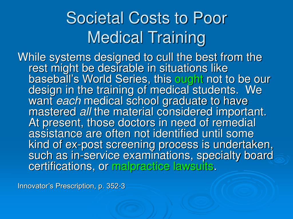 Societal Costs to Poor