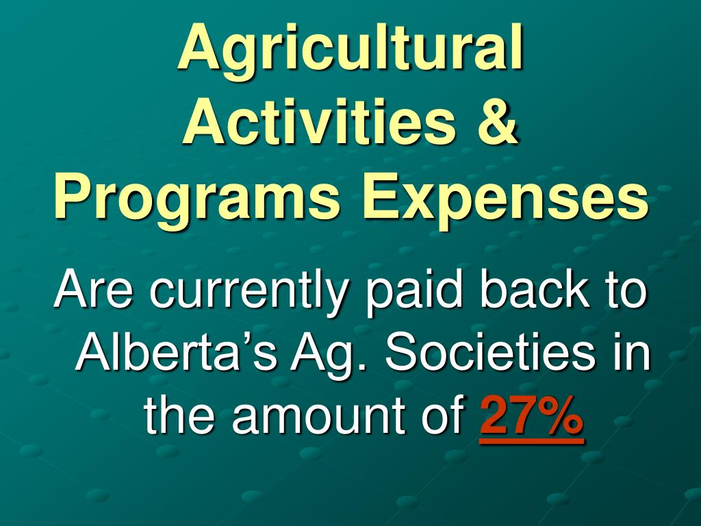Agricultural Activities & Programs Expenses