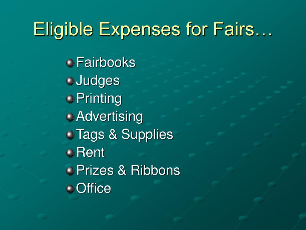 Eligible Expenses for Fairs…