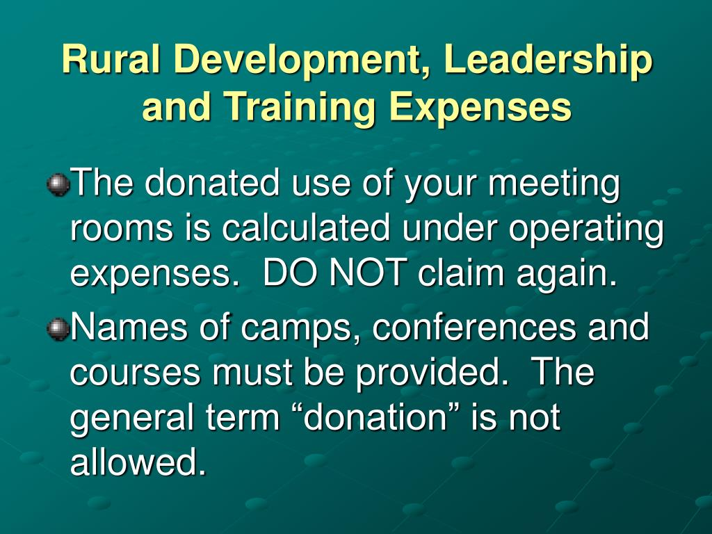 Rural Development, Leadership and Training Expenses