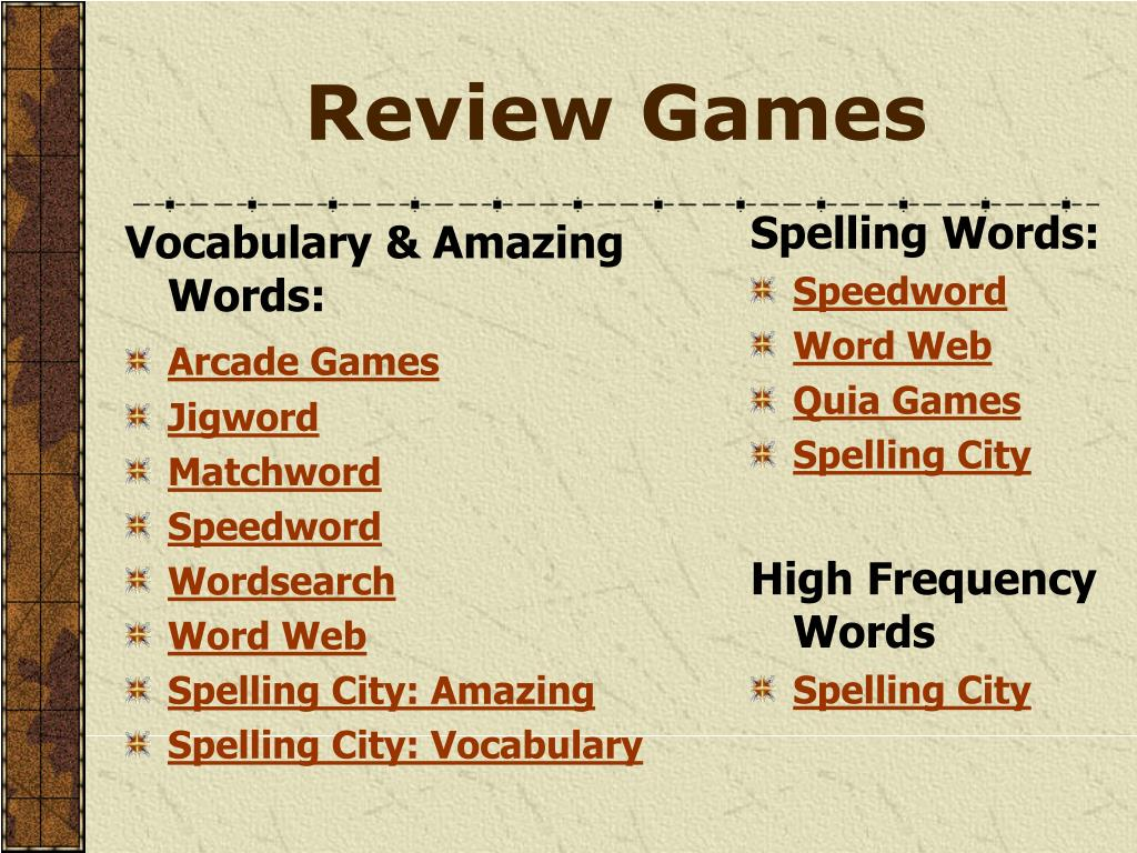 Vocabulary & Amazing Words: