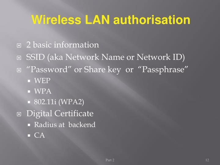 Wireless LAN authorisation