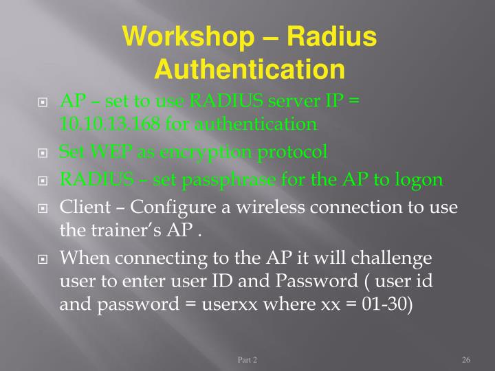 Workshop – Radius Authentication