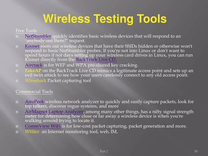 Wireless Testing Tools