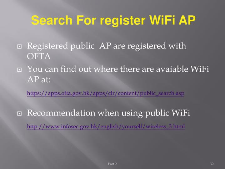 Search For register WiFi AP