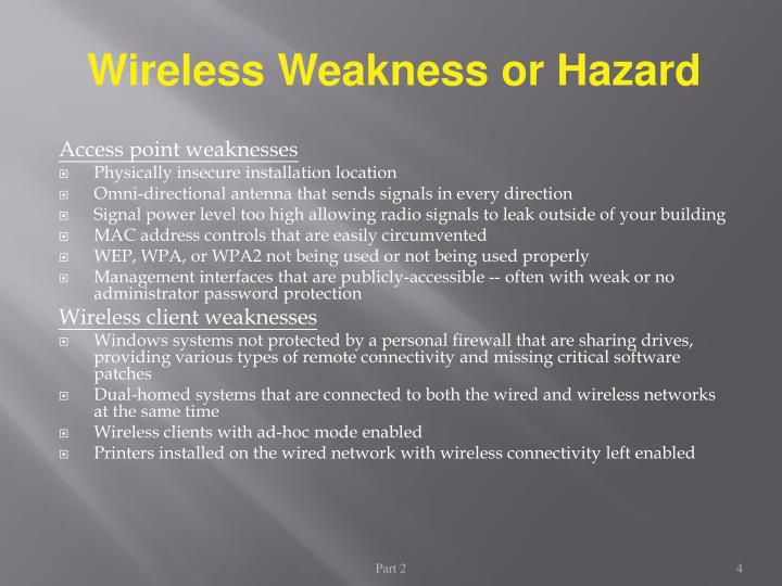 Wireless Weakness or Hazard