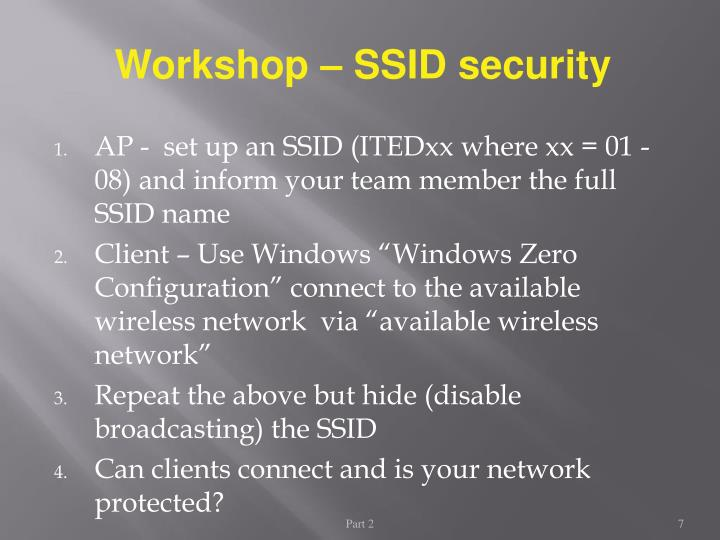 Workshop – SSID security