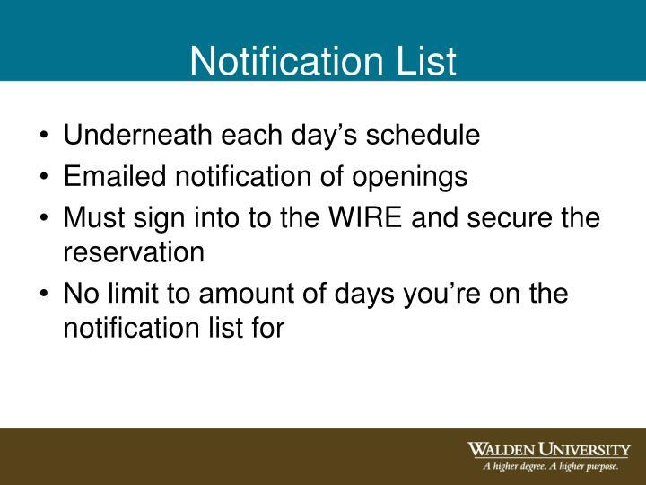 Notification List