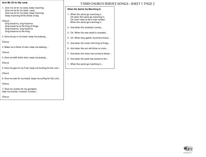 T1000 CHURCH SERVICE SONGS - SHEET 1  PAGE 2