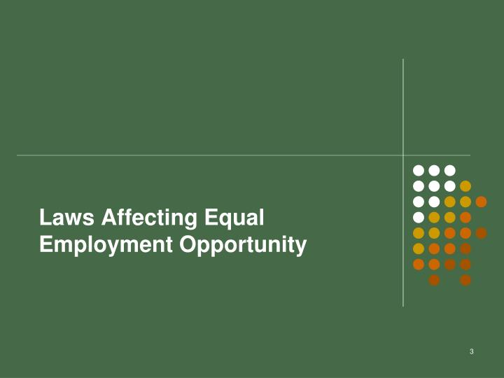 Laws Affecting Equal Employment Opportunity