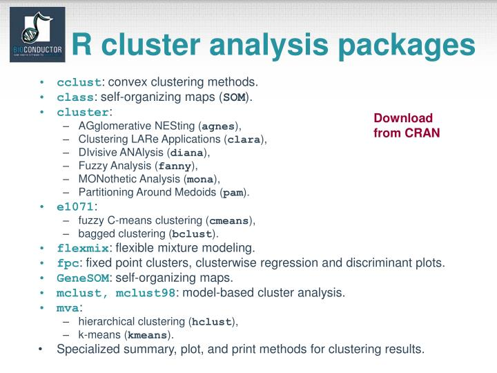 R cluster analysis packages