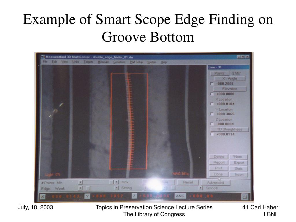 Example of Smart Scope Edge Finding on Groove Bottom