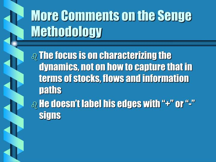 More Comments on the Senge Methodology