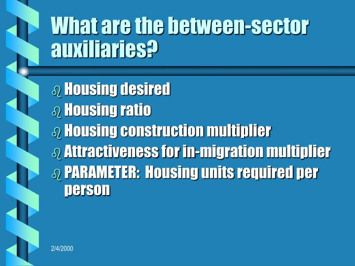 What are the between-sector auxiliaries?