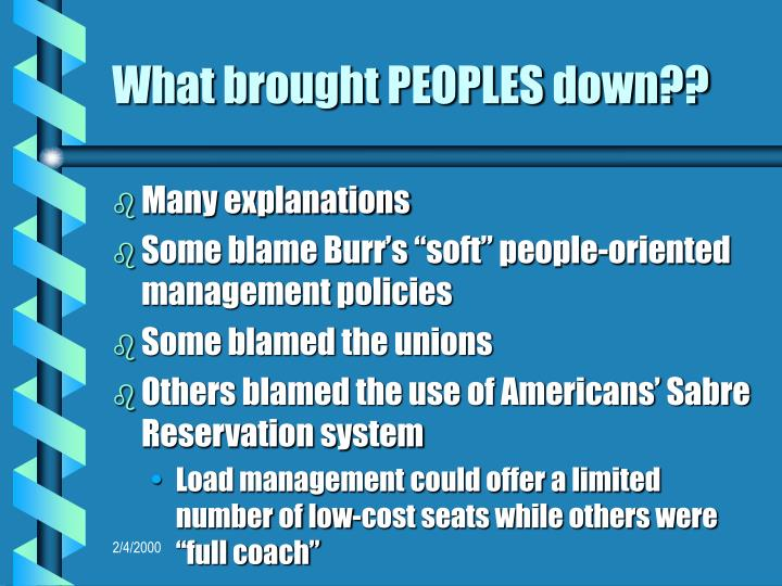 What brought PEOPLES down??