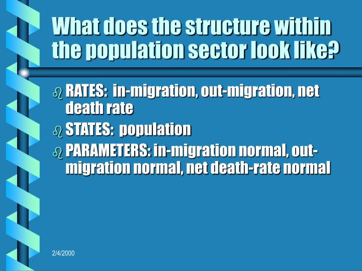 What does the structure within the population sector look like?