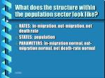 what does the structure within the population sector look like