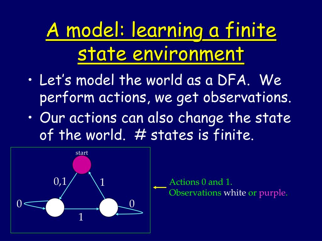 A model: learning a finite state environment