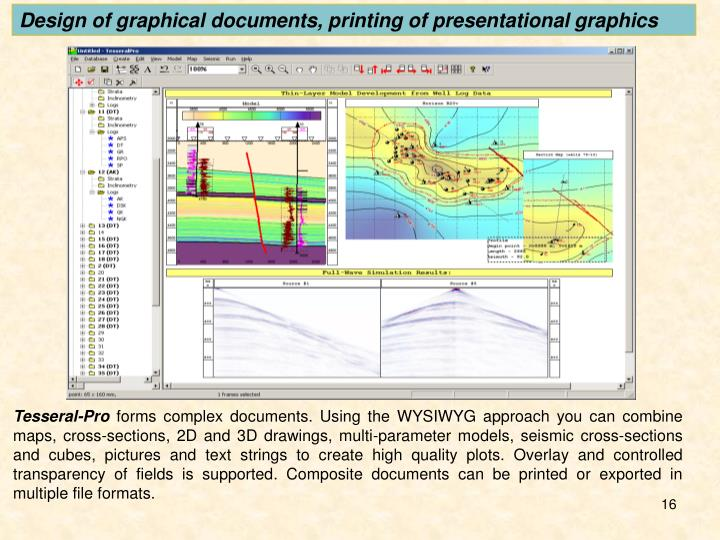 Design of graphical documents, printing of presentational graphics