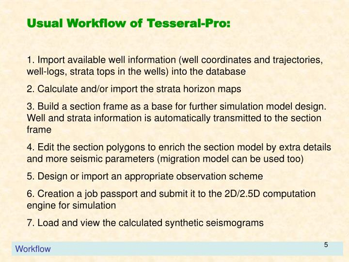 Usual Workflow of Tesseral-Pro:
