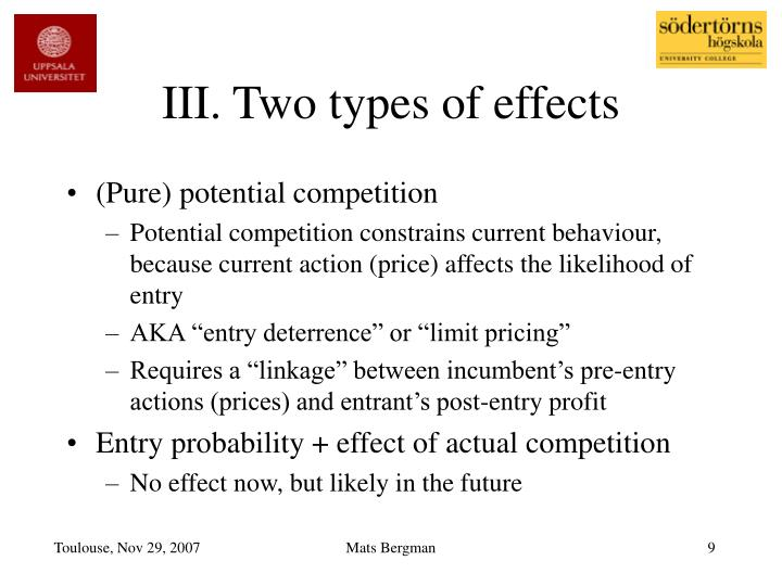 III. Two types of effects