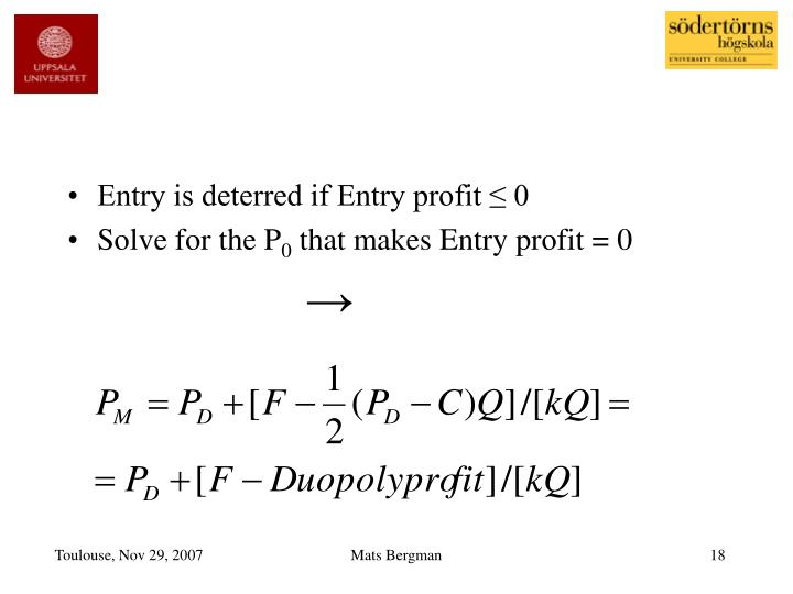 Entry is deterred if Entry profit ≤ 0