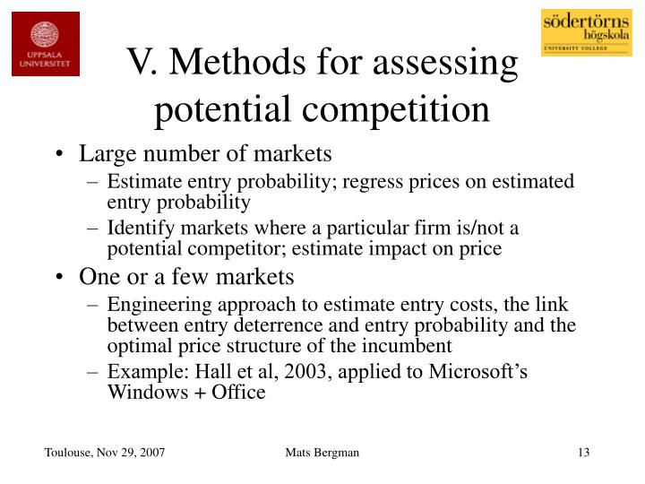 V. Methods for assessing potential competition