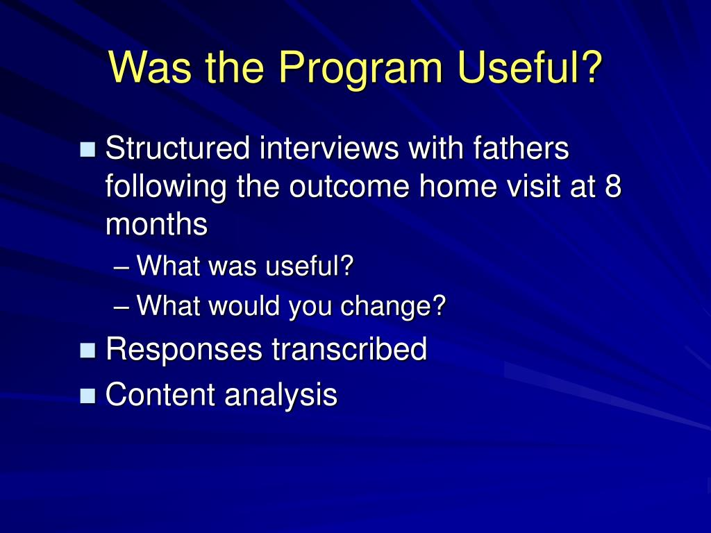 Was the Program Useful?