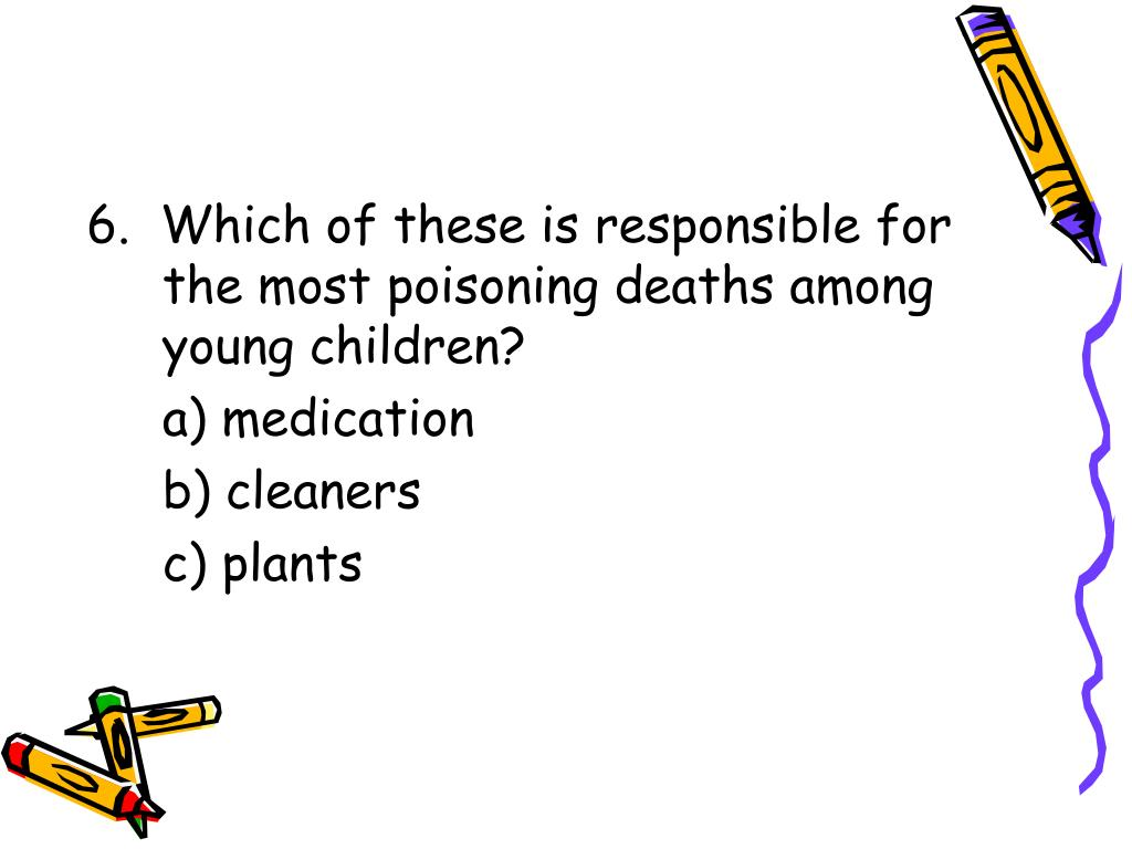 6.  Which of these is responsible for the most poisoning deaths among young children?