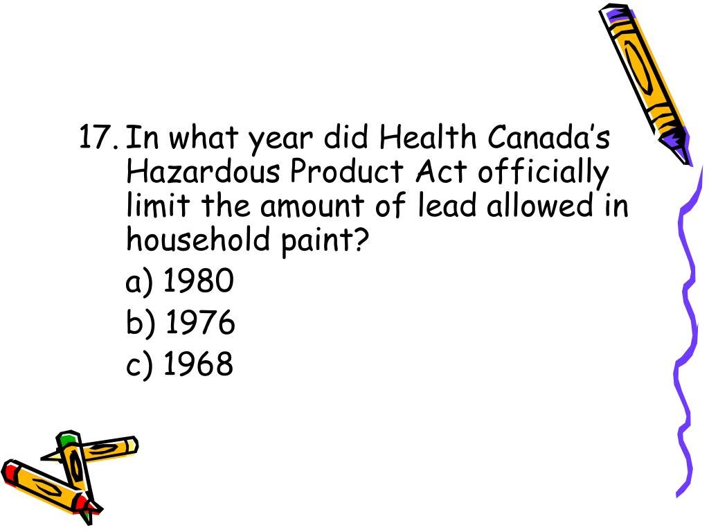 In what year did Health Canada's Hazardous Product Act officially limit the amount of lead allowed in household paint?