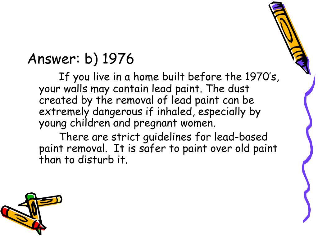 Answer: b) 1976