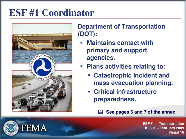 ESF #1 Coordinator