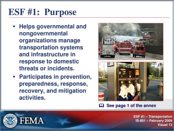 ESF #1:  Purpose