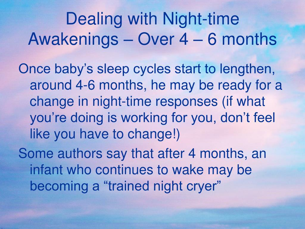 Dealing with Night-time Awakenings – Over 4 – 6 months